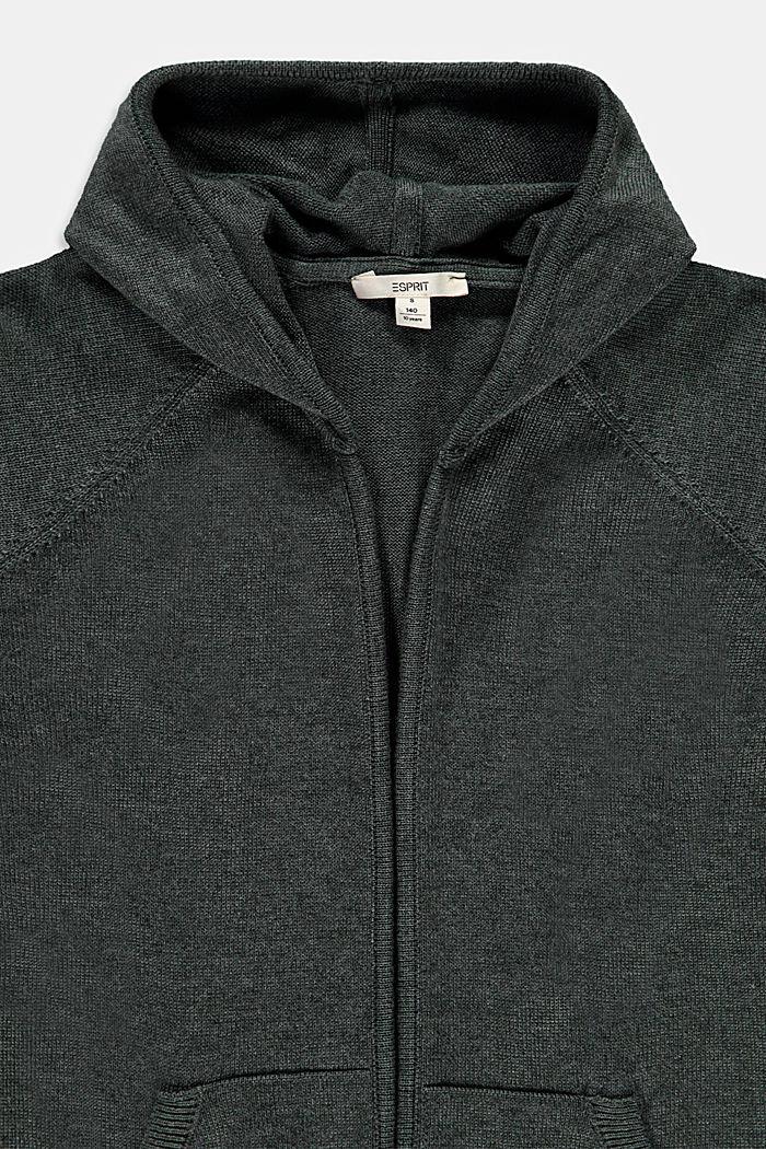 Open vest met capuchon, 100% katoen, DARK KHAKI, detail image number 2