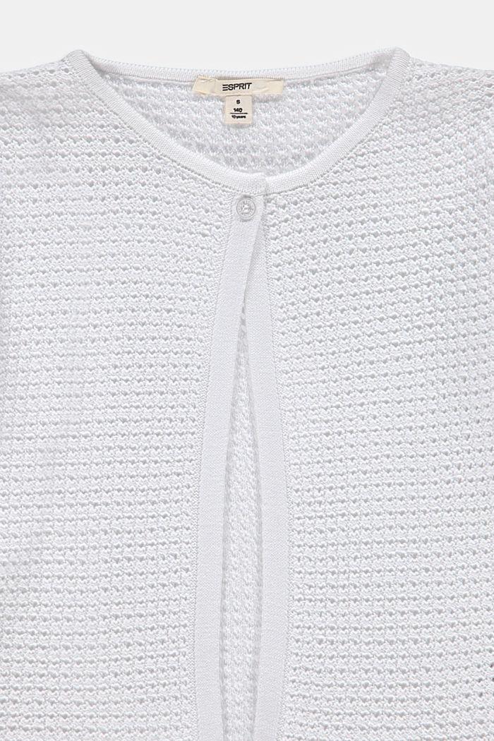 Openwork cardigan, 100% cotton, WHITE, detail image number 2