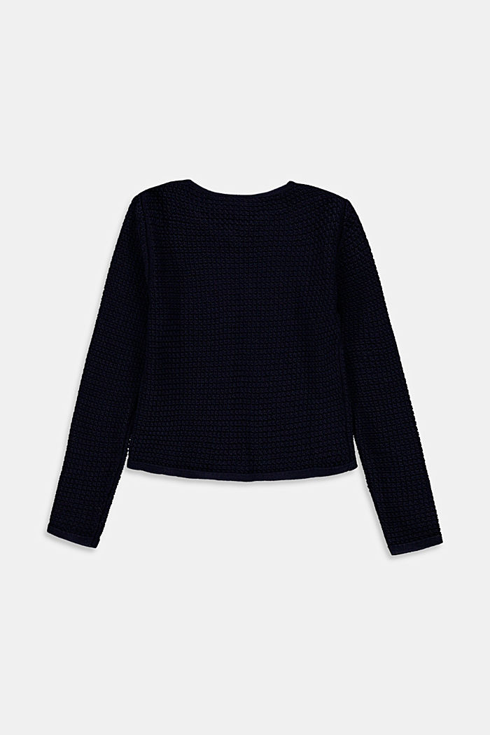 Openwork cardigan, 100% cotton, NAVY, detail image number 1