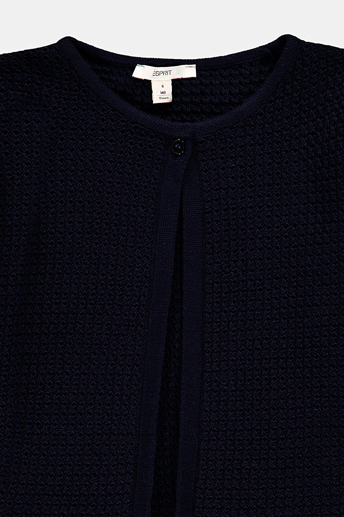 Openwork cardigan, 100% cotton, NAVY, detail image number 2
