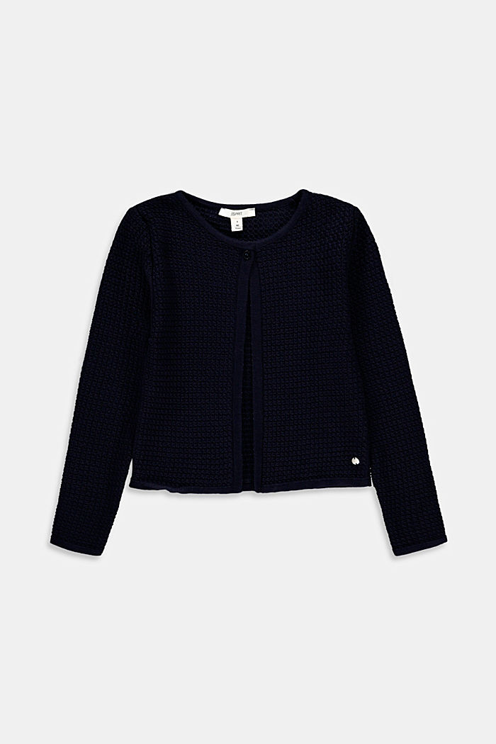 Openwork cardigan, 100% cotton, NAVY, detail image number 0
