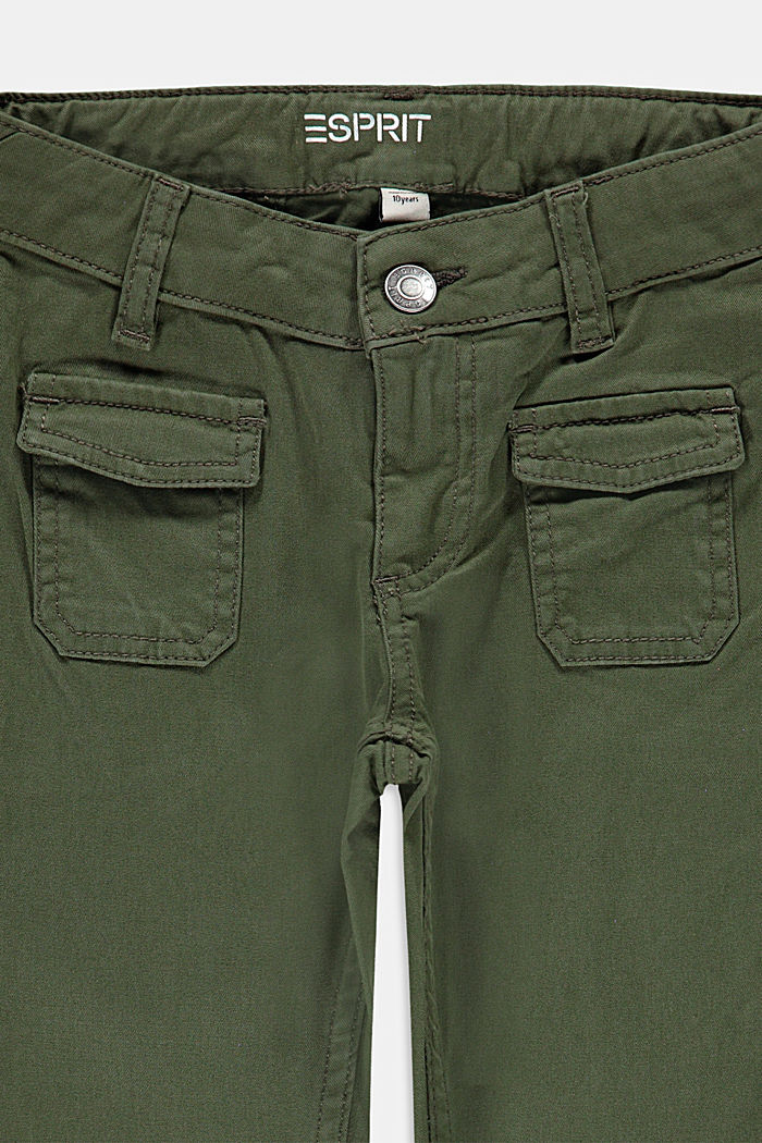 Trousers with flap pockets and an adjustable waistband, DARK KHAKI, detail image number 2