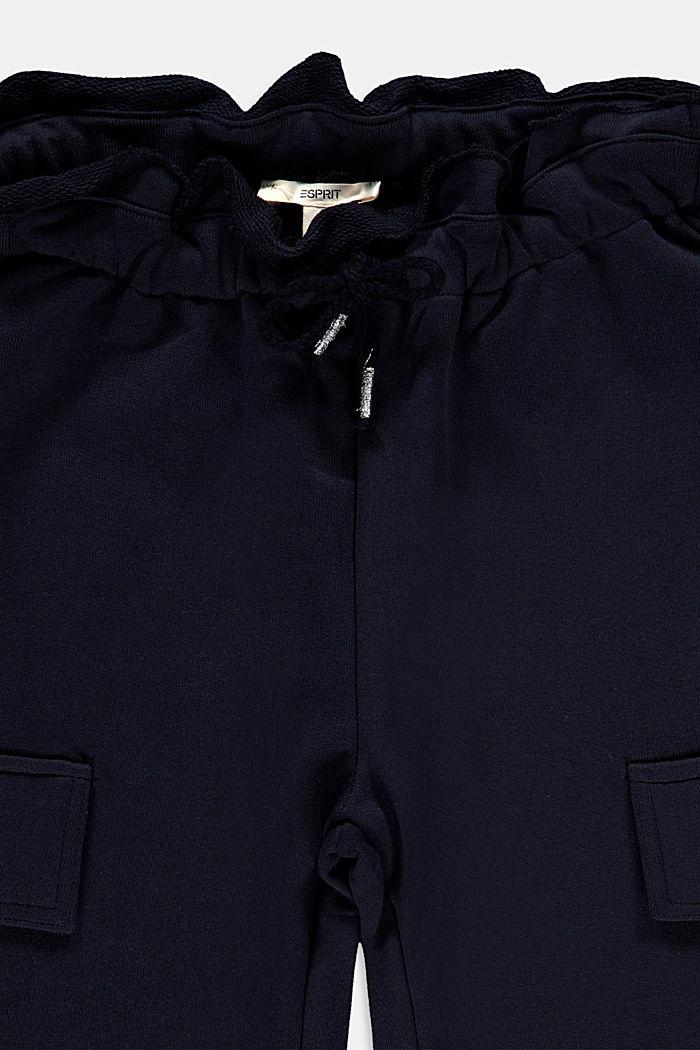 Sweatbroek in cargostijl, 100% katoen, NAVY, detail image number 2