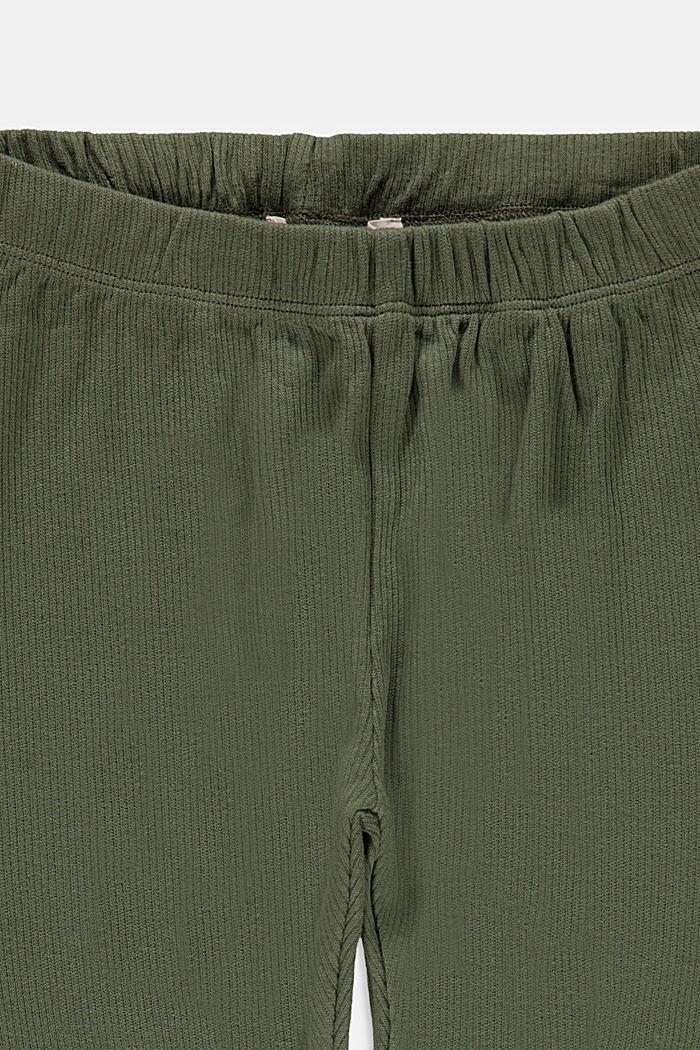 Basic stretch cotton leggings, DARK KHAKI, detail image number 2