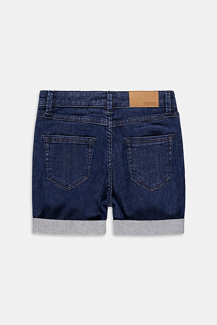 High-waisted denim shorts, BLUE DARK WASH, detail image number 1