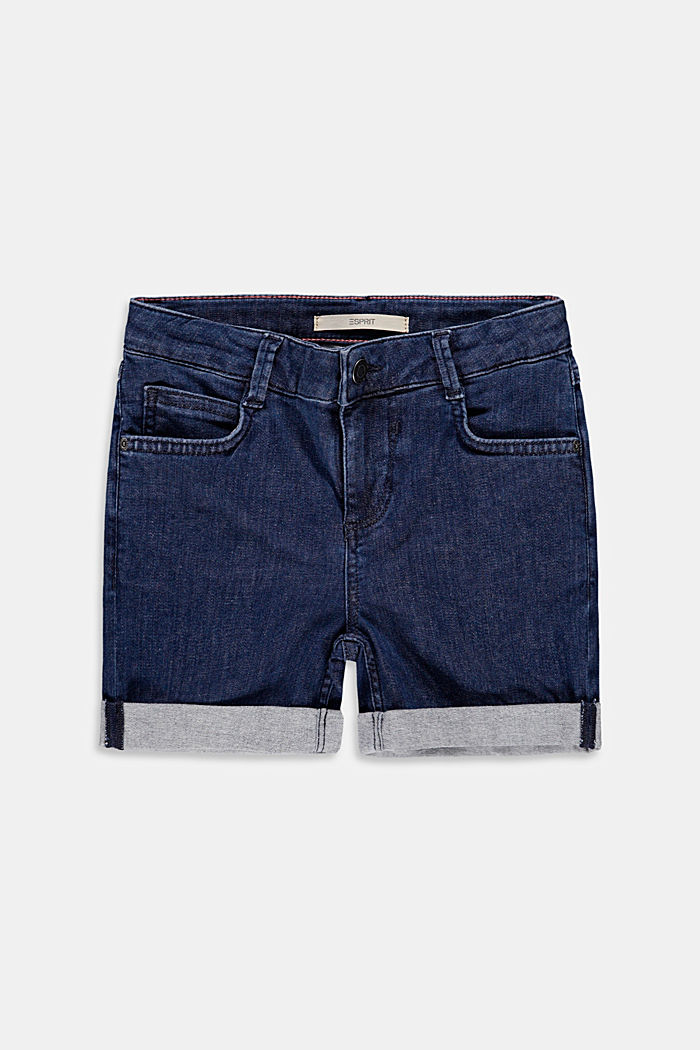 High-waisted denim shorts, BLUE DARK WASH, detail image number 0