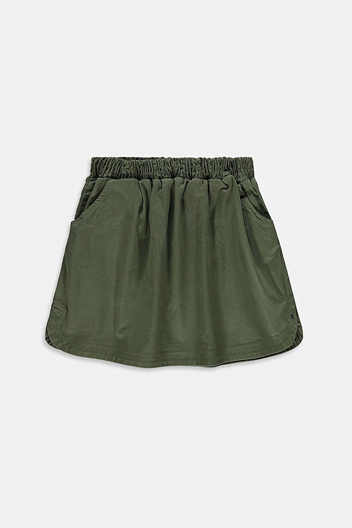 Twill skirt with an elasticated waistband, DARK KHAKI, detail image number 0
