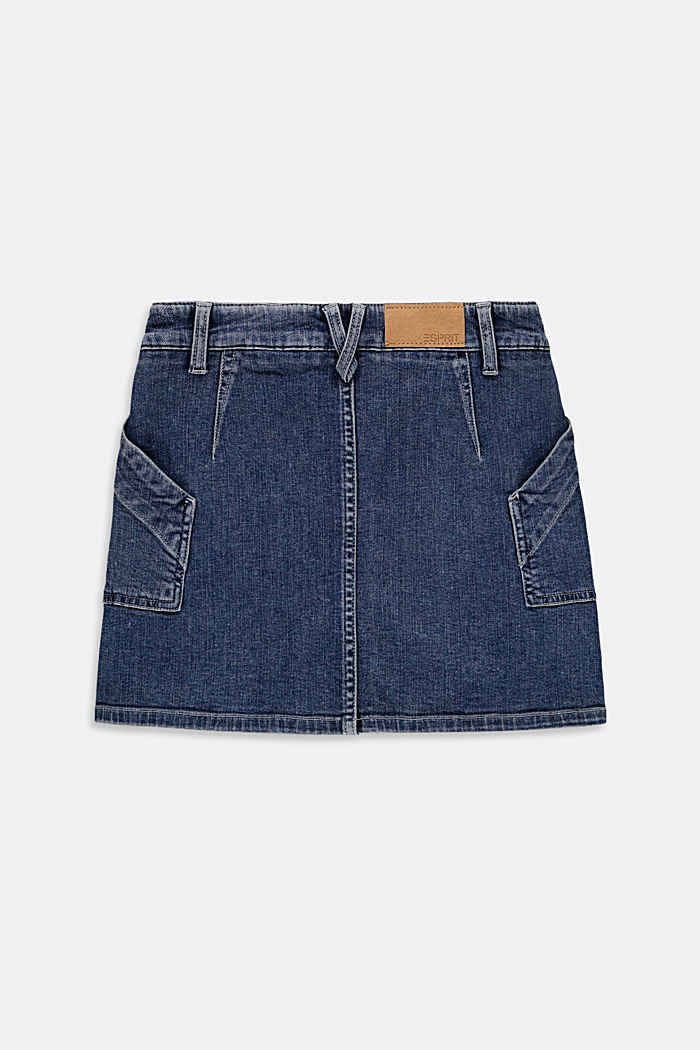 Denim skirt with an adjustable waistband, BLUE DARK WASHED, detail image number 1