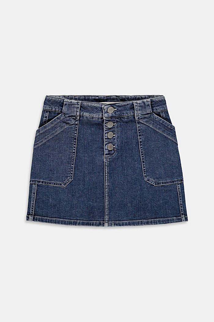 Denim skirt with an adjustable waistband, BLUE DARK WASHED, detail image number 0
