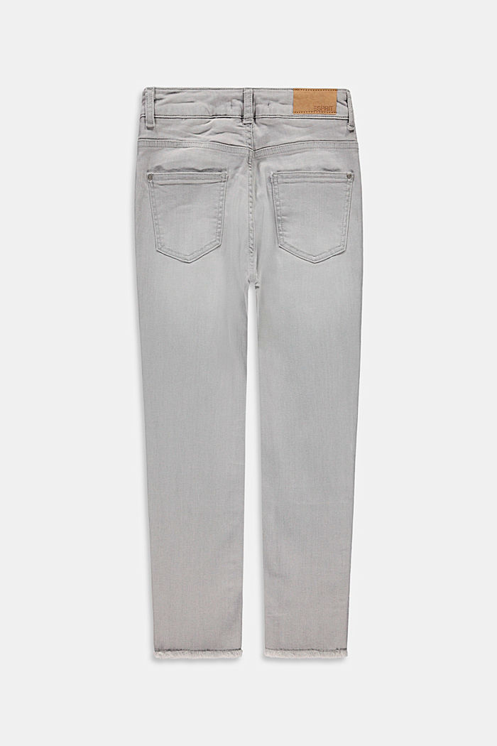 Jeans mit Fransensäumen und Verstellbund