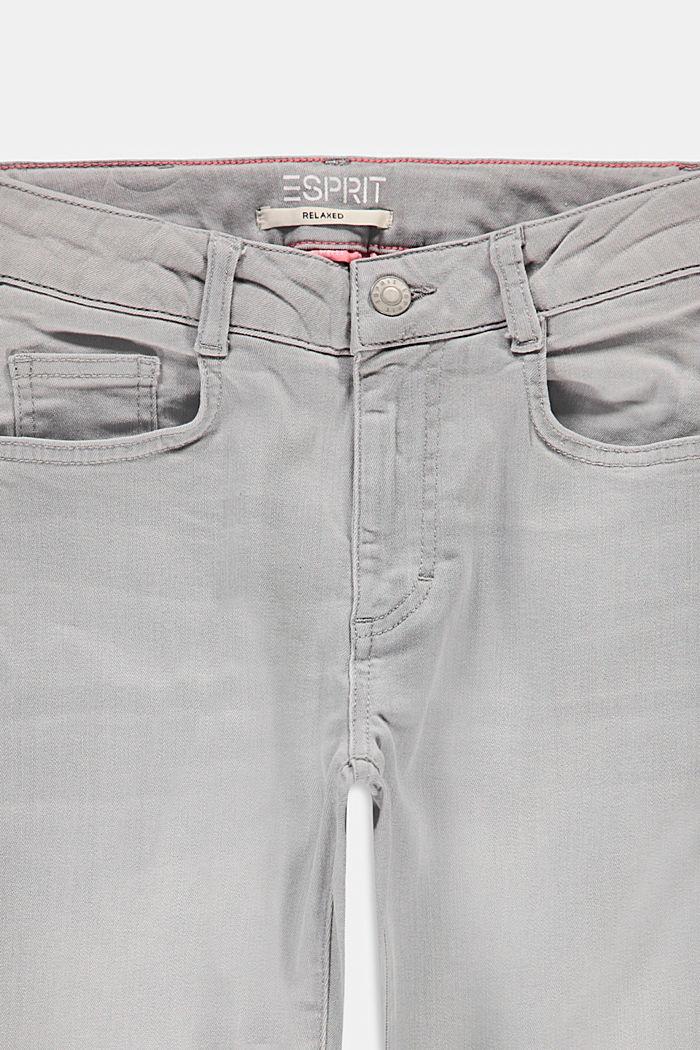 Jeans mit Fransensäumen und Verstellbund, GREY LIGHT WASHED, detail image number 2