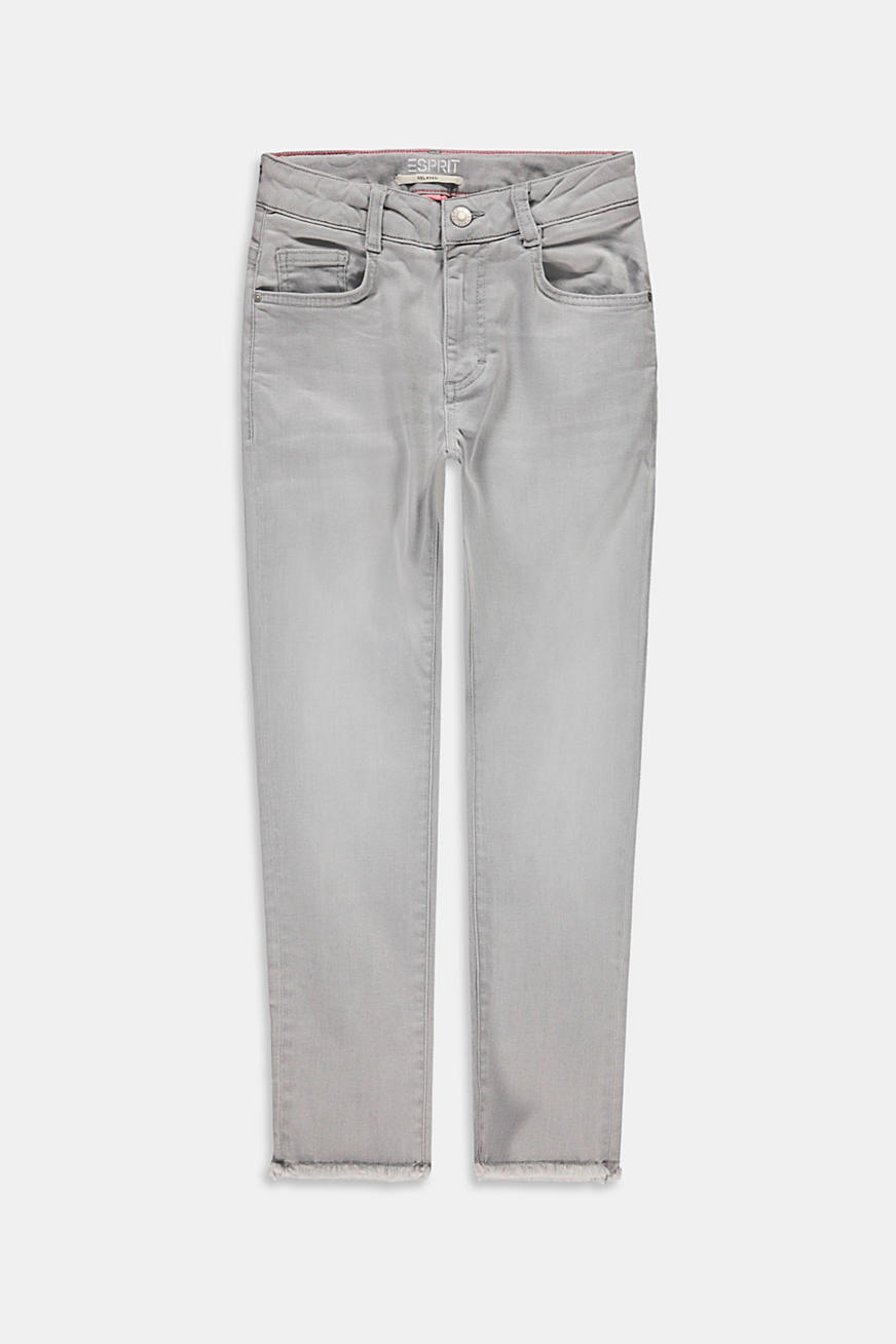 Jeans with frayed hems and adjustable waistband
