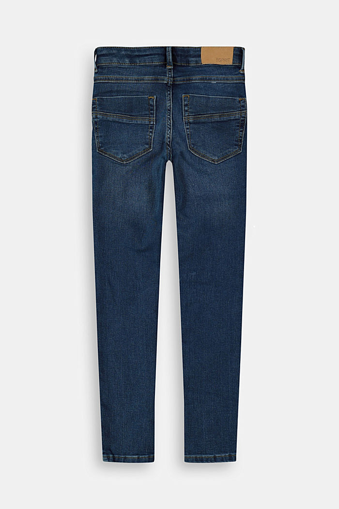 Schmale Stretch-Jeans mit Verstellbund, BLUE MEDIUM WASHED, detail image number 1