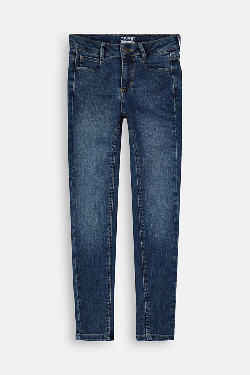 Slim-fitting stretch jeans with an adjustable waistband