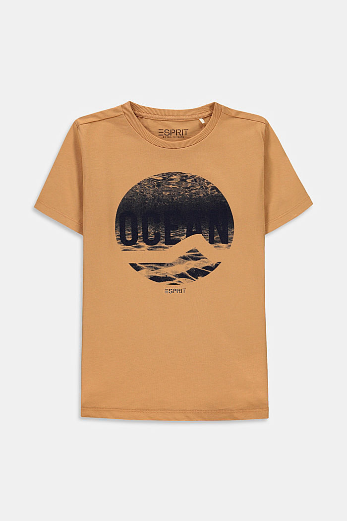 Printed T-shirt in 100% cotton, CARAMEL, overview