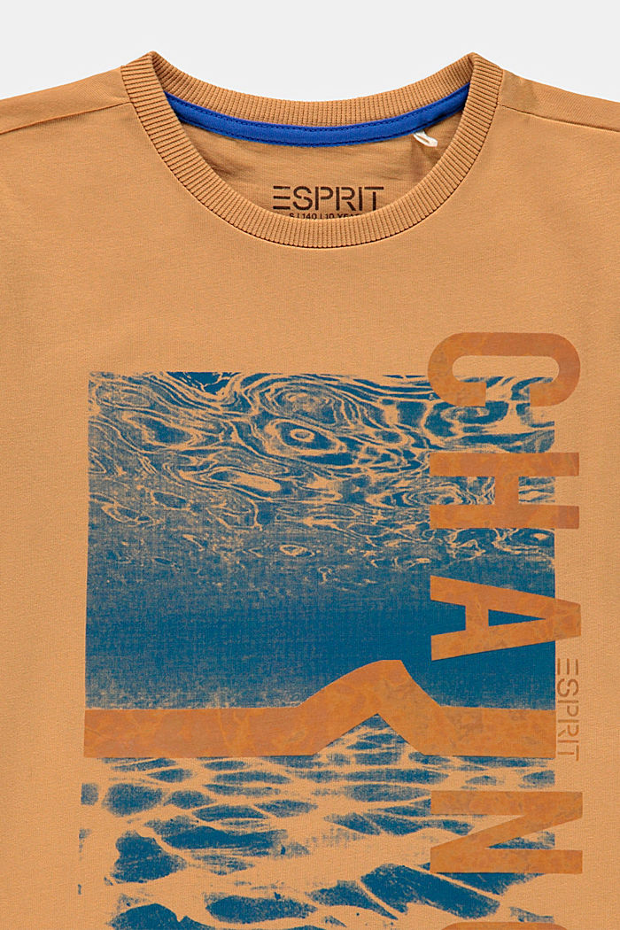 T-shirt with a shiny print, 100% cotton, CARAMEL, detail image number 2