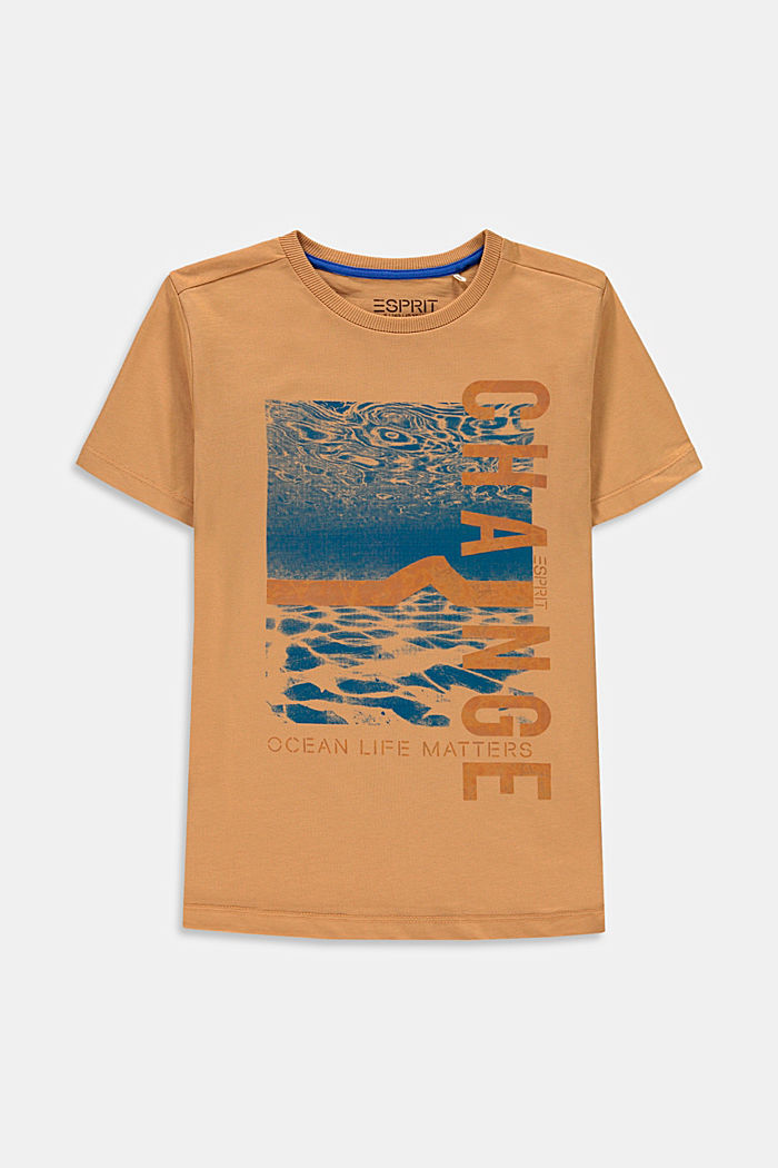 T-shirt with a shiny print, 100% cotton, CARAMEL, detail image number 0