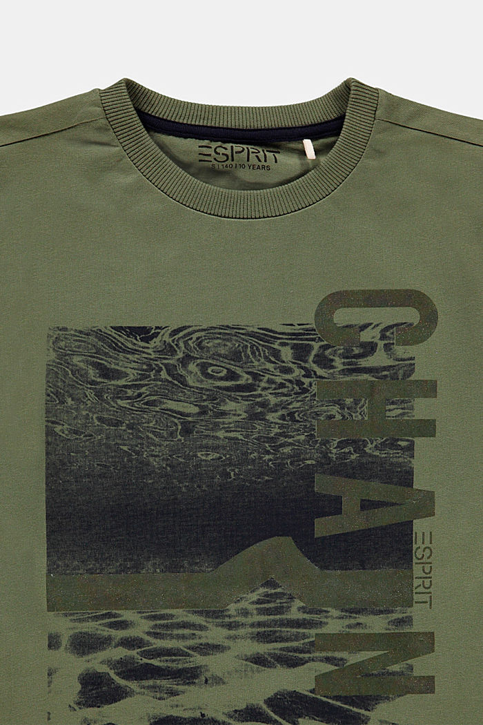 T-shirt with a shiny print, 100% cotton, DARK KHAKI, detail image number 2