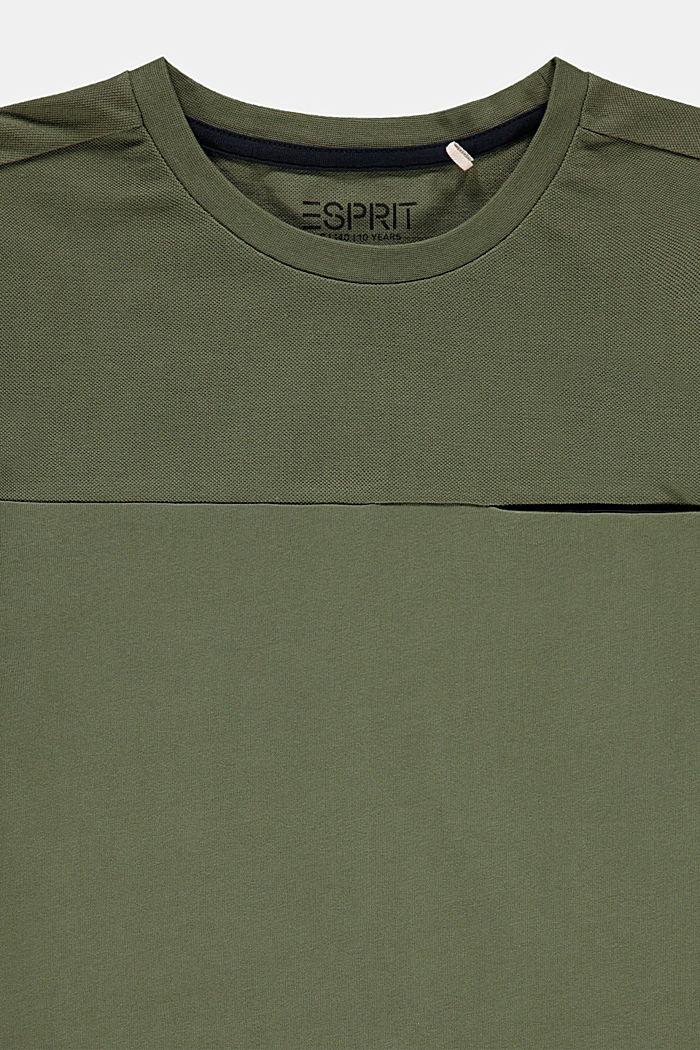 Camiseta con efecto de capas en 100% algodón, DARK KHAKI, detail image number 2