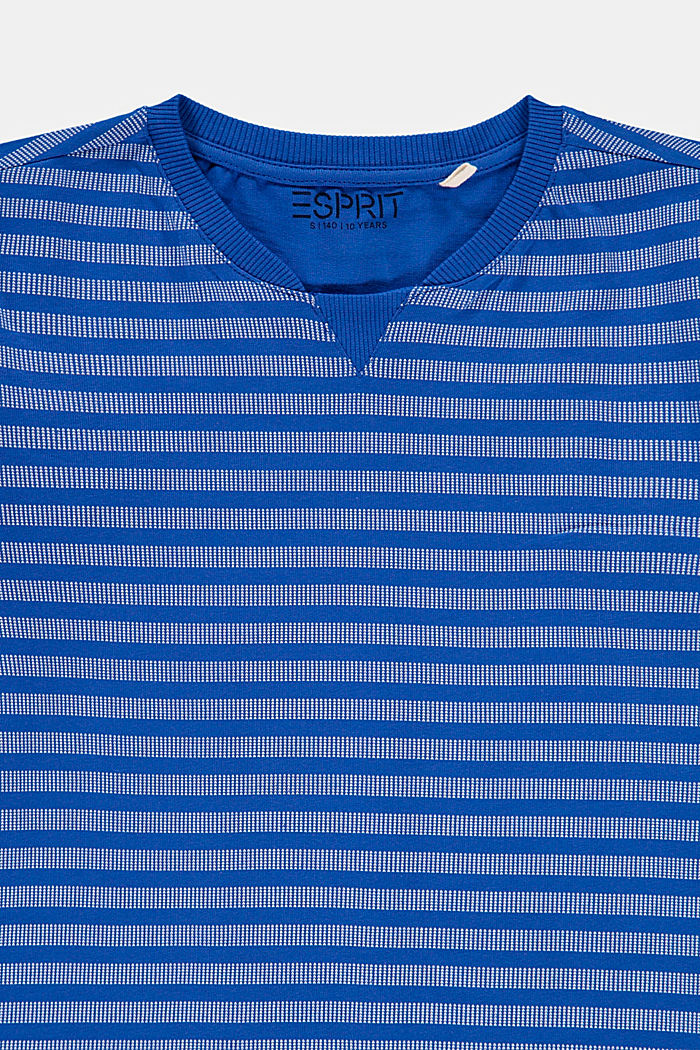 T-shirt with a striped pattern, 100% cotton, TURQUOISE, detail image number 2