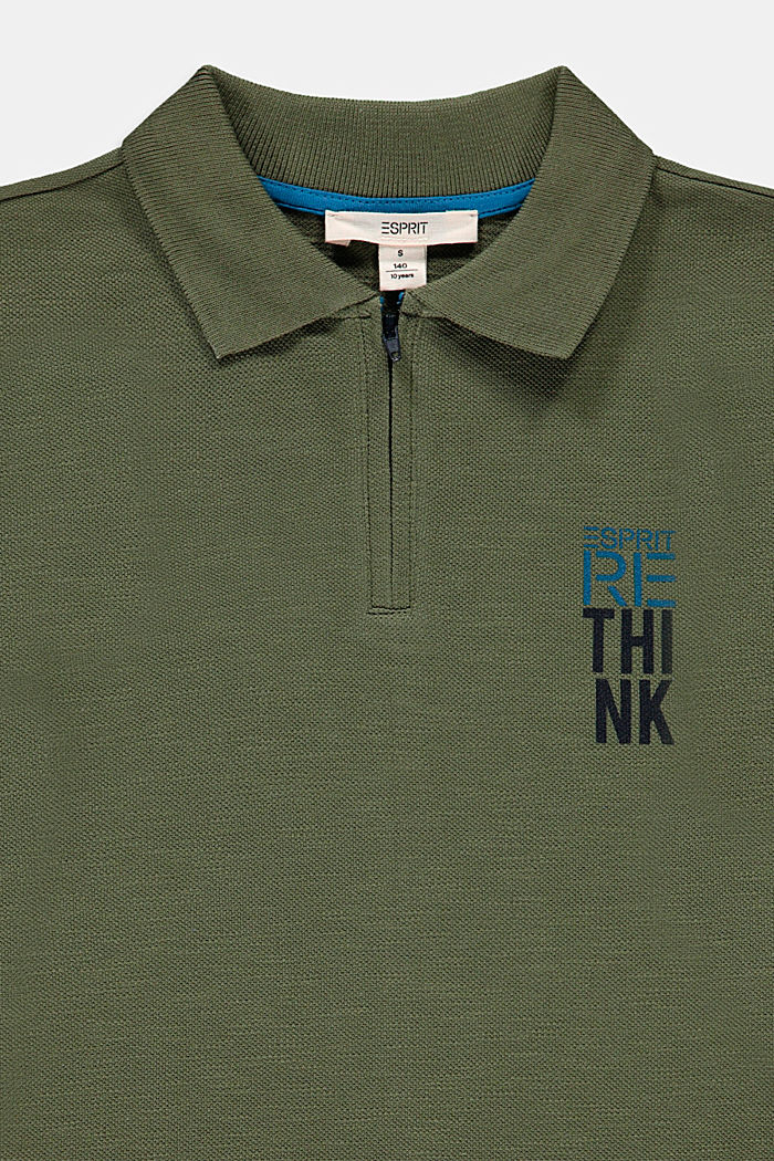 Printed piqué polo shirt, 100% cotton, DARK KHAKI, detail image number 2
