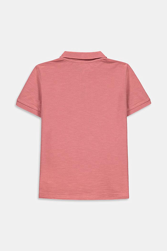 Polo de piqué con estampado, 100 % algodón, OLD PINK, detail image number 1