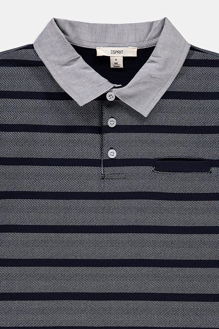 Jersey poloshirt met strepen, 100% katoen, NAVY, detail image number 2