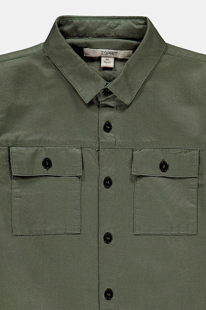 Camisa estilo militar satinada, 100 % algodón, DARK KHAKI, detail image number 2