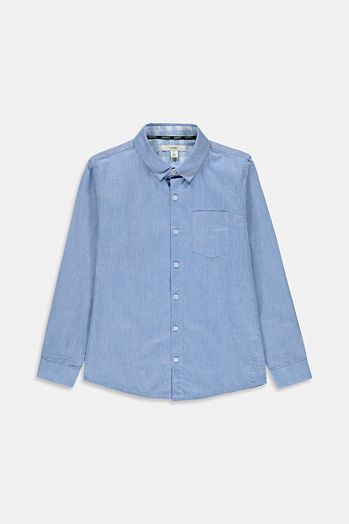 Melange shirt made of 100% cotton, PASTEL BLUE, detail image number 0