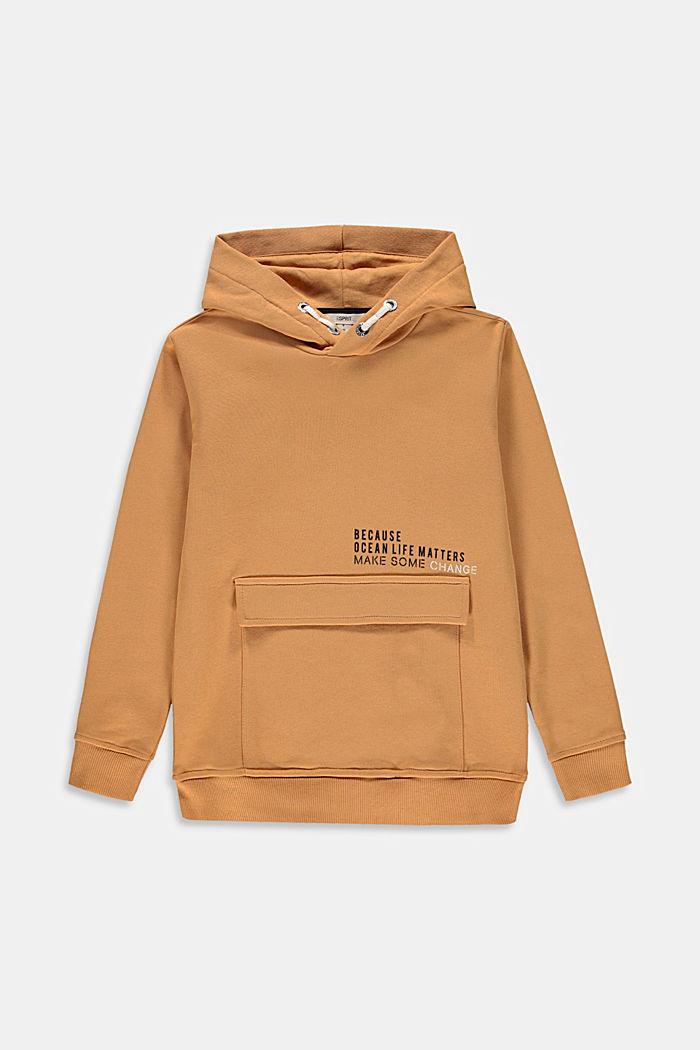 Hoodie mit Print und Tasche, 100% Baumwolle