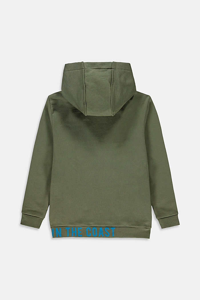Sweatshirt cardigan with hood, 100% cotton, DARK KHAKI, detail image number 1