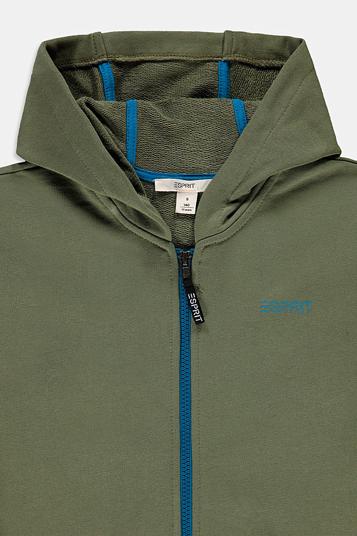 Sweatshirt cardigan with hood, 100% cotton, DARK KHAKI, detail image number 2