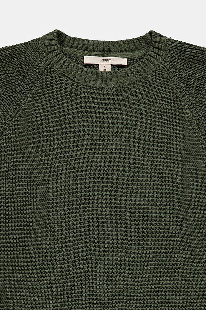 Struktur-Pullover aus 100% Baumwolle, DARK KHAKI, detail image number 2
