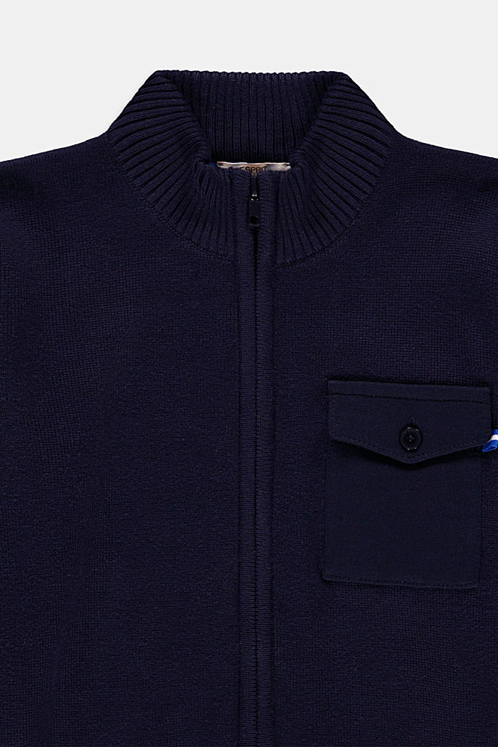 Zip-up cardigan with a jersey pocket, 100% cotton, NAVY, detail image number 2