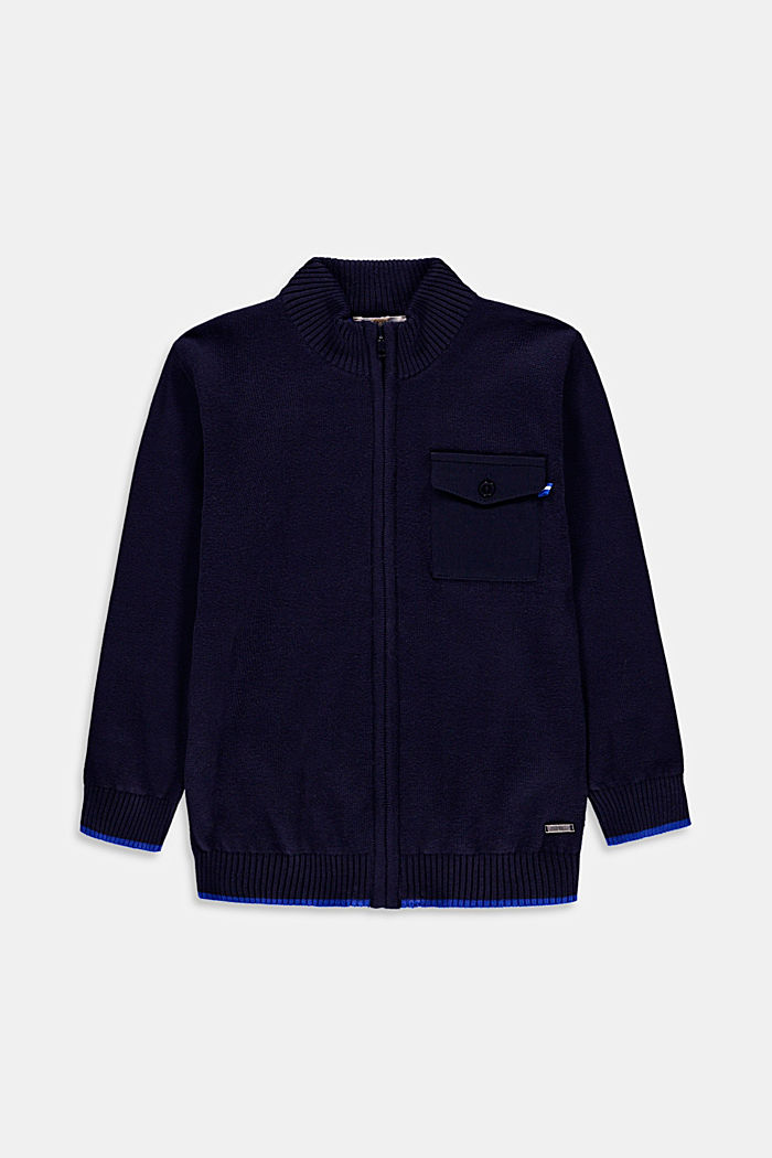 Zip-up cardigan with a jersey pocket, 100% cotton
