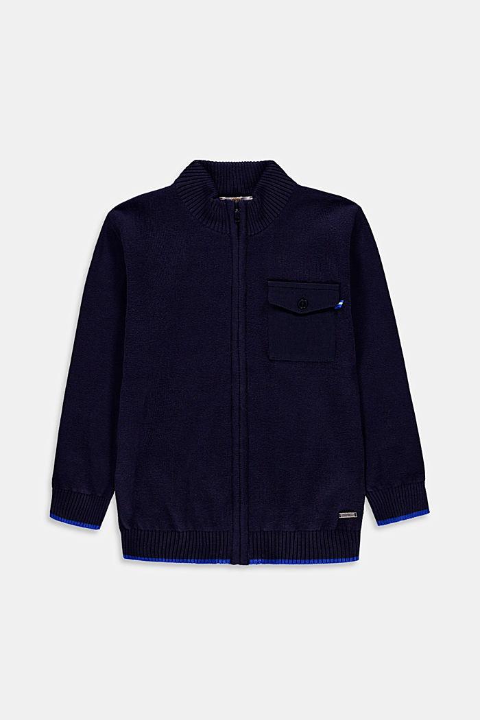 Zipp-Cardigan mit Jersey-Tasche, 100% Baumwolle