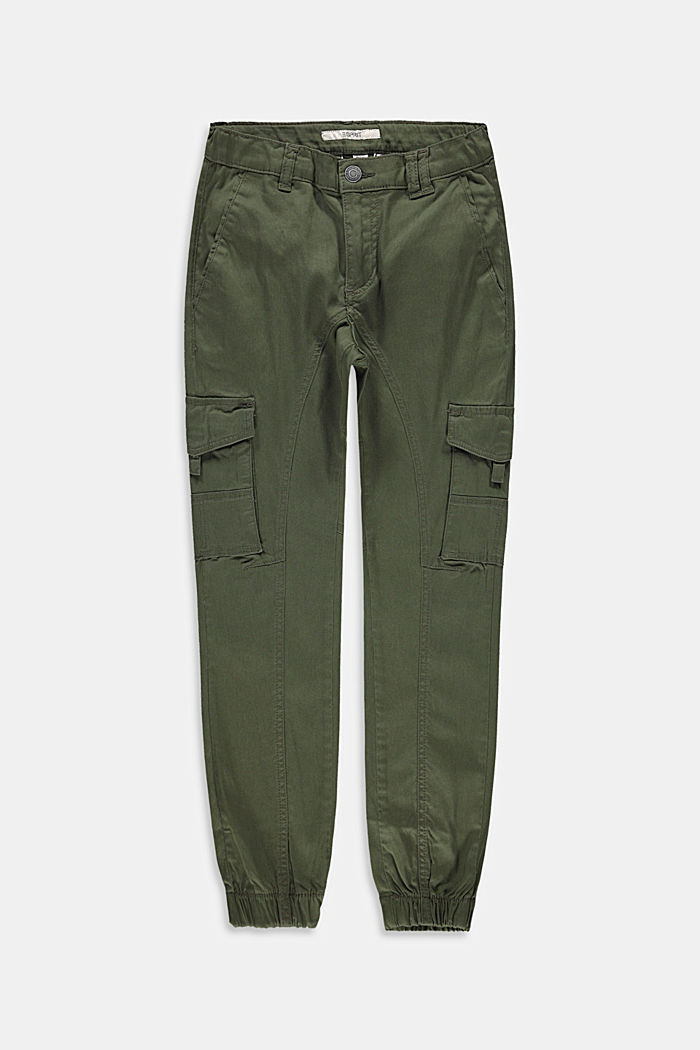 Cargo trousers with adjustable waistband