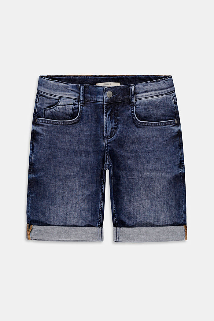 Shorts di jeans con cintura regolabile, BLUE DARK WASHED, overview