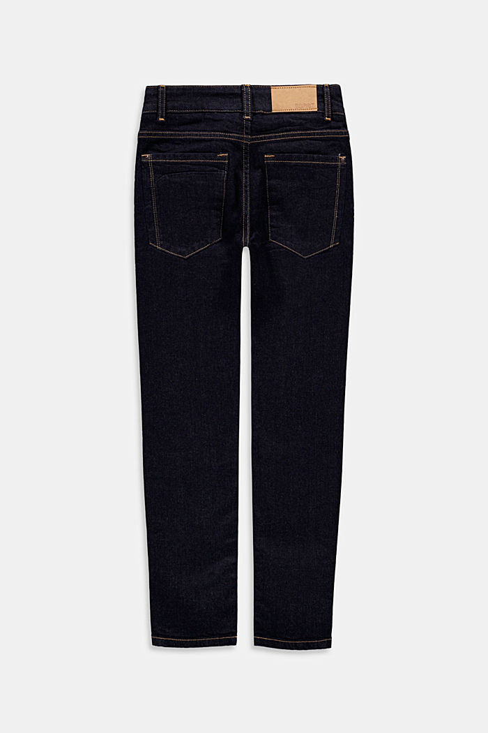 Dark blue jeans with an adjustable waistband, BLUE RINSE, detail image number 1