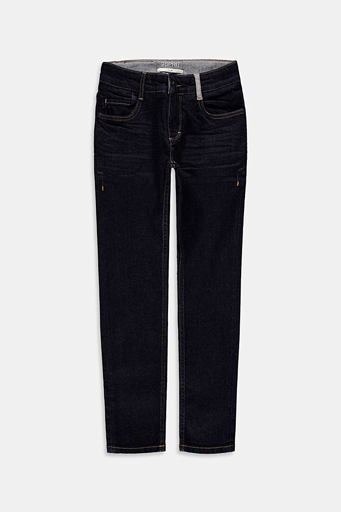 Dark blue jeans with an adjustable waistband, BLUE RINSE, overview