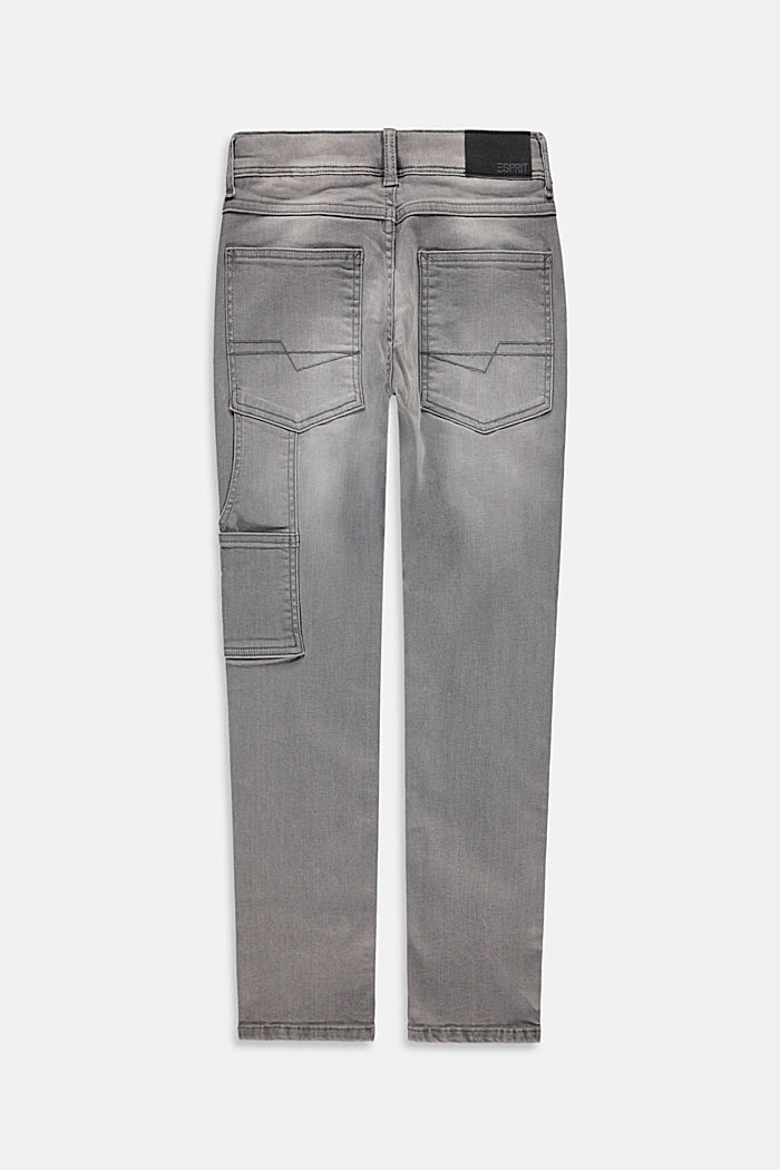 Worker style jeans with an adjustable waistband, GREY MEDIUM WASHED, detail image number 1