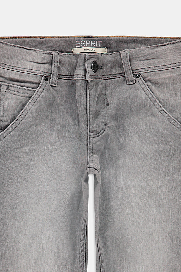 Jeans in worker-stijl, met verstelbare band, GREY MEDIUM WASHED, detail image number 2