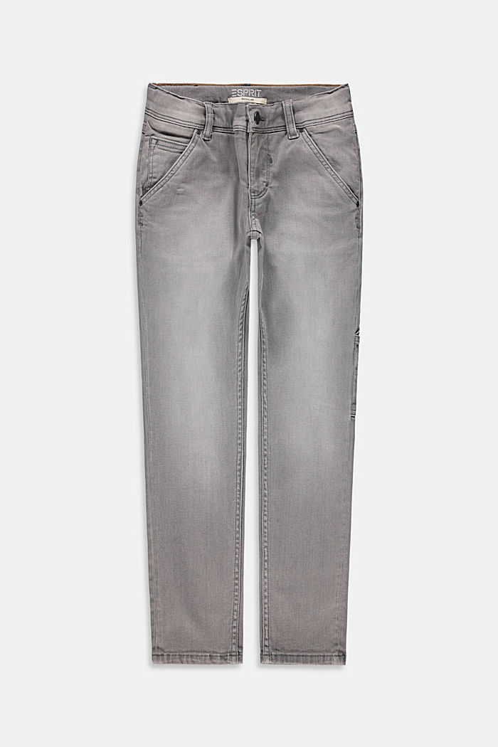 Worker style jeans with an adjustable waistband, GREY MEDIUM WASHED, overview