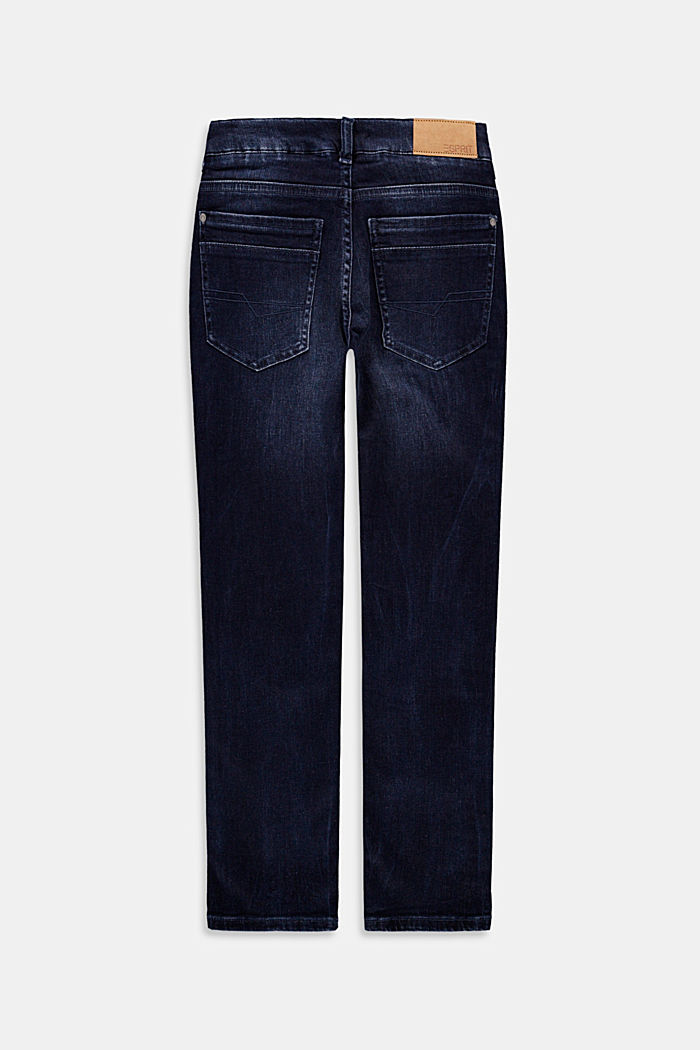 Washed jeans with an adjustable waistband