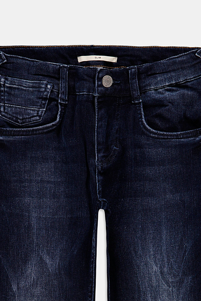 Washed jeans with an adjustable waistband, BLUE DARK WASHED, detail image number 2