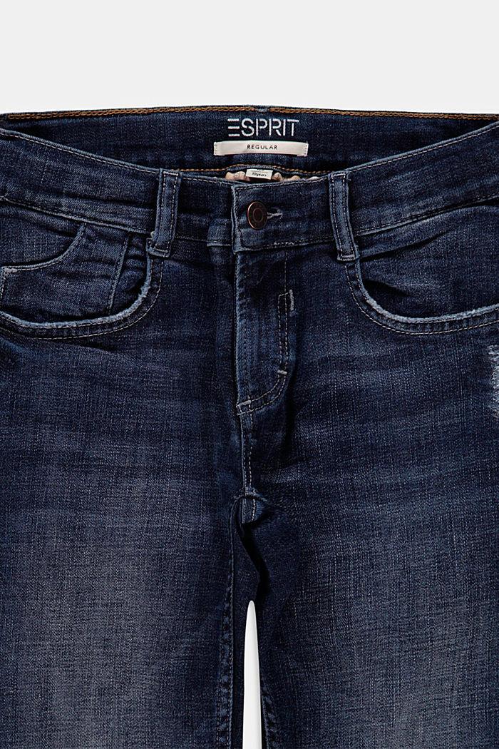 Jeans met used details en verstelbare band, BLUE DARK WASHED, detail image number 2