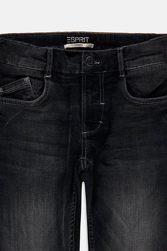 Zwarte stretchjeans met verstelbare band, BLACK DARK WASHED, detail image number 2