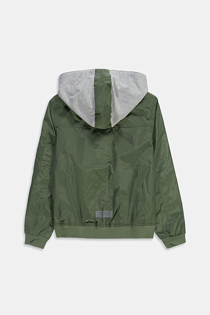 Bomber jacket with a sweatshirt fabric hood