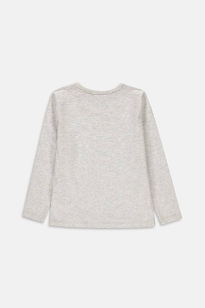 Printed long sleeve top, 100% cotton, SILVER, detail image number 1