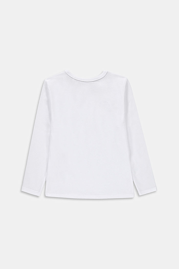 Printed long sleeve top, 100% cotton, WHITE, detail image number 1